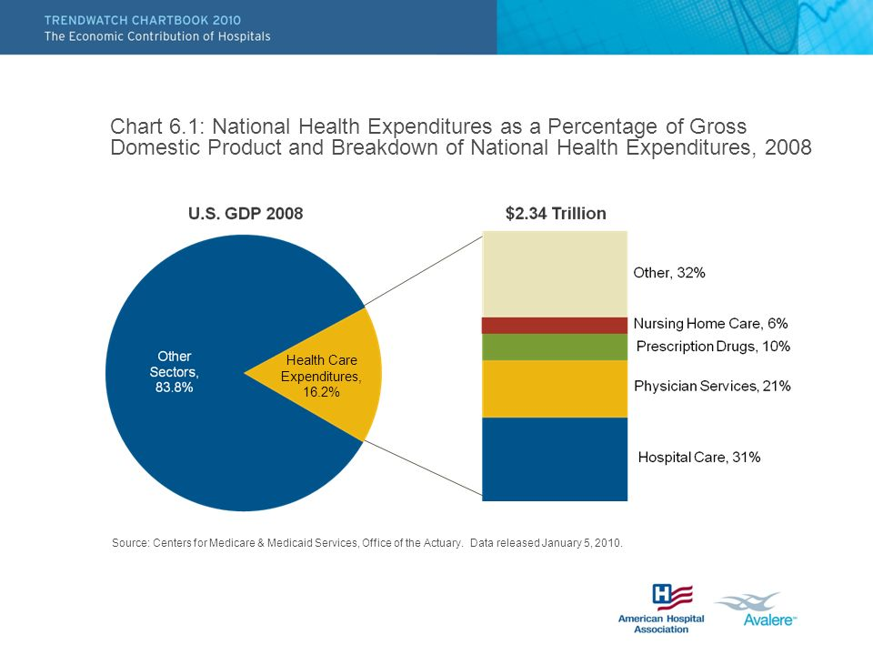 Chart 6.1: National Health Expenditures as a Percentage of Gross Domestic Product and Breakdown of National Health Expenditures, 2008 Source: Centers for Medicare & Medicaid Services, Office of the Actuary.