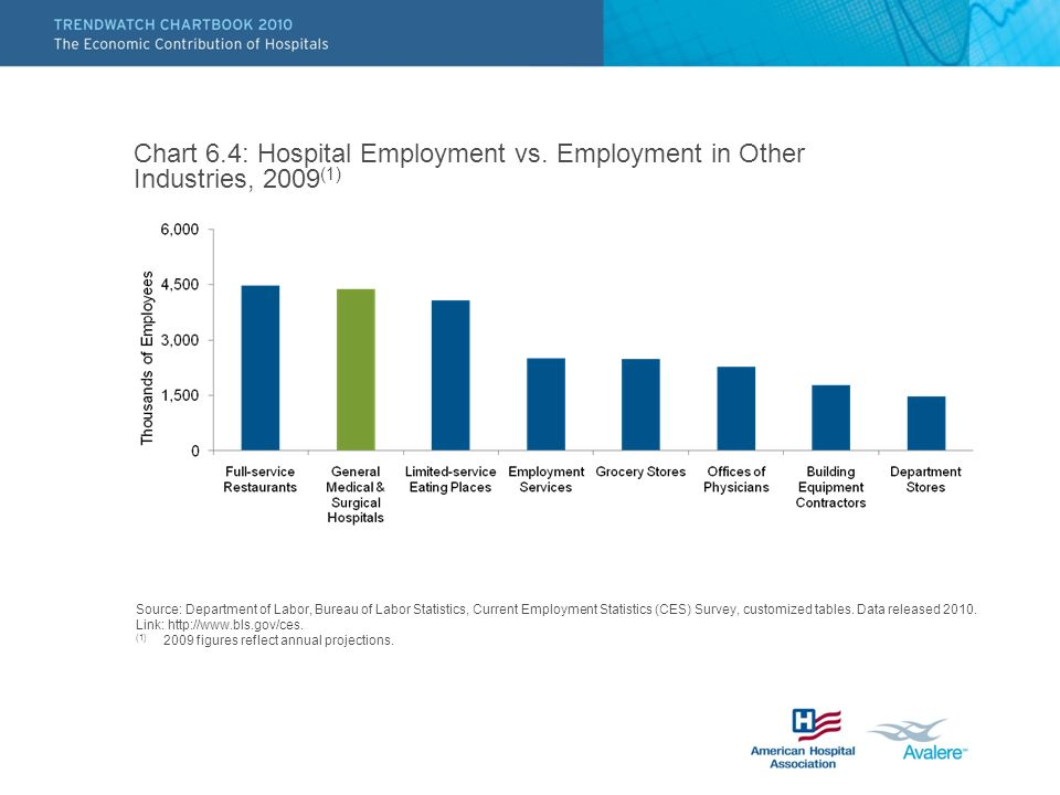 Chart 6.4: Hospital Employment vs. Employment in Other Industries, 2009 (1) Source: Department of Labor, Bureau of Labor Statistics, Current Employmen