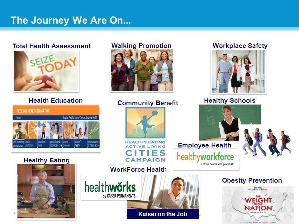 Page 6 The Journey We Are On … 6 Total Health Assessment Walking Promotion Healthy Eating Workplace Safety Kaiser on the Job Healthy Schools WorkForce Health Health Education Employee Health Obesity Prevention Community Benefit