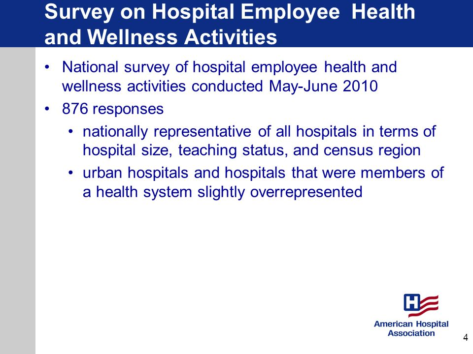 Survey on Hospital Employee Health and Wellness Activities Most hospitals (86%) have an employee health and wellness program, the vast majority of which (80%) are directly administered by the hospital or health system.