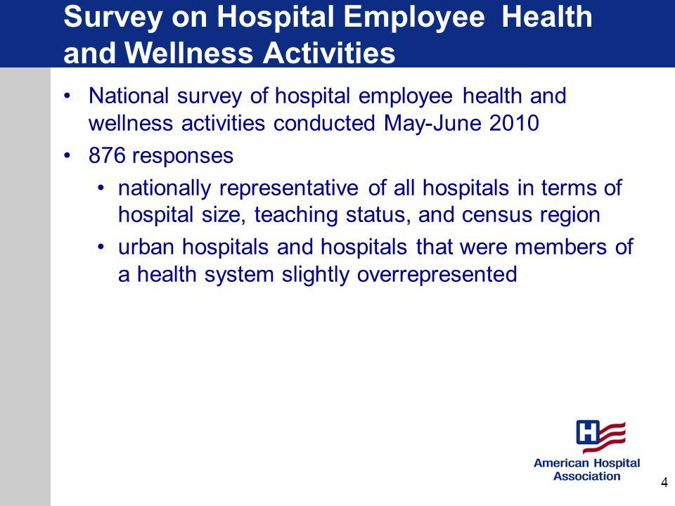 Survey on Hospital Employee Health and Wellness Activities National survey of hospital employee health and wellness activities conducted May-June 2010