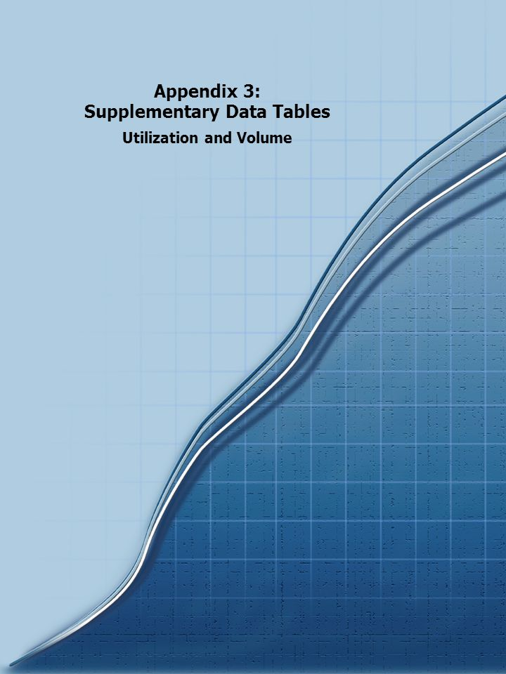 Appendix 3: Supplementary Data Tables Utilization and Volume