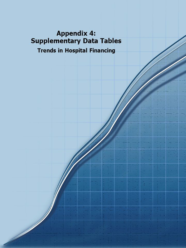 Appendix 4: Supplementary Data Tables Trends in Hospital Financing