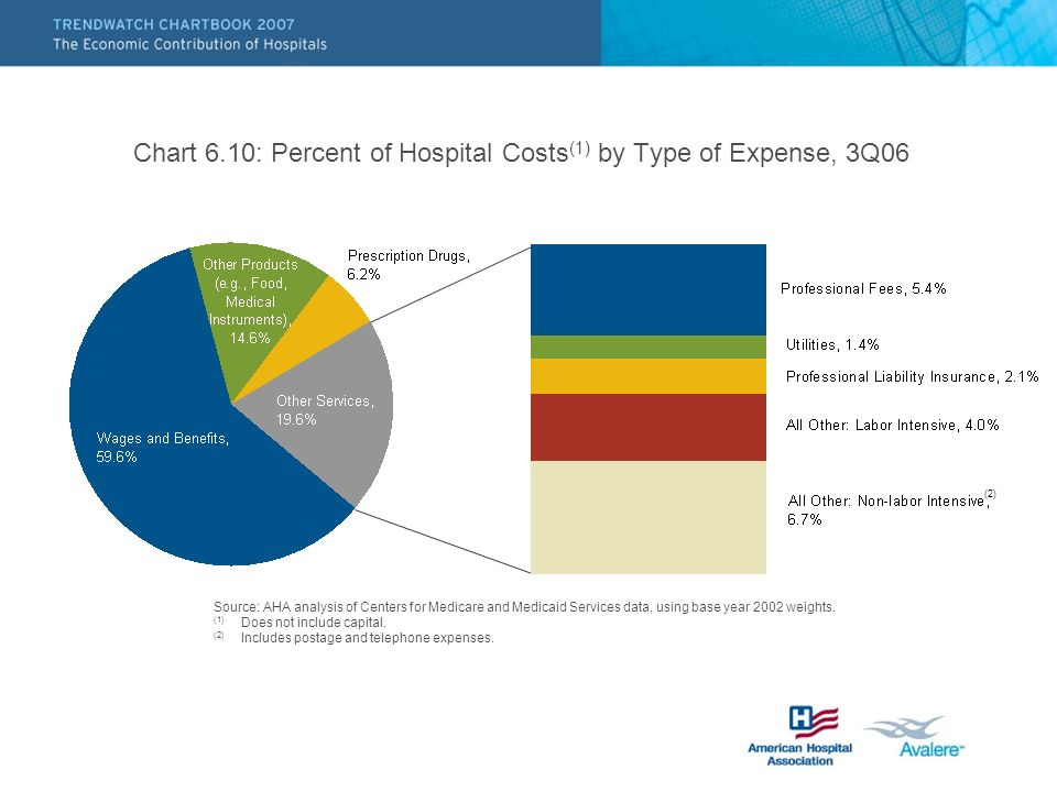 Chart 6.10: Percent of Hospital Costs (1) by Type of Expense, 3Q06 Source: AHA analysis of Centers for Medicare and Medicaid Services data, using base year 2002 weights.