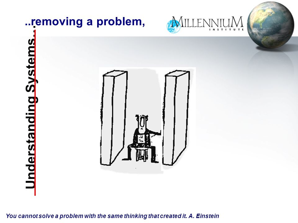 Understanding Systems…..removing a problem, You cannot solve a problem with the same thinking that created it.