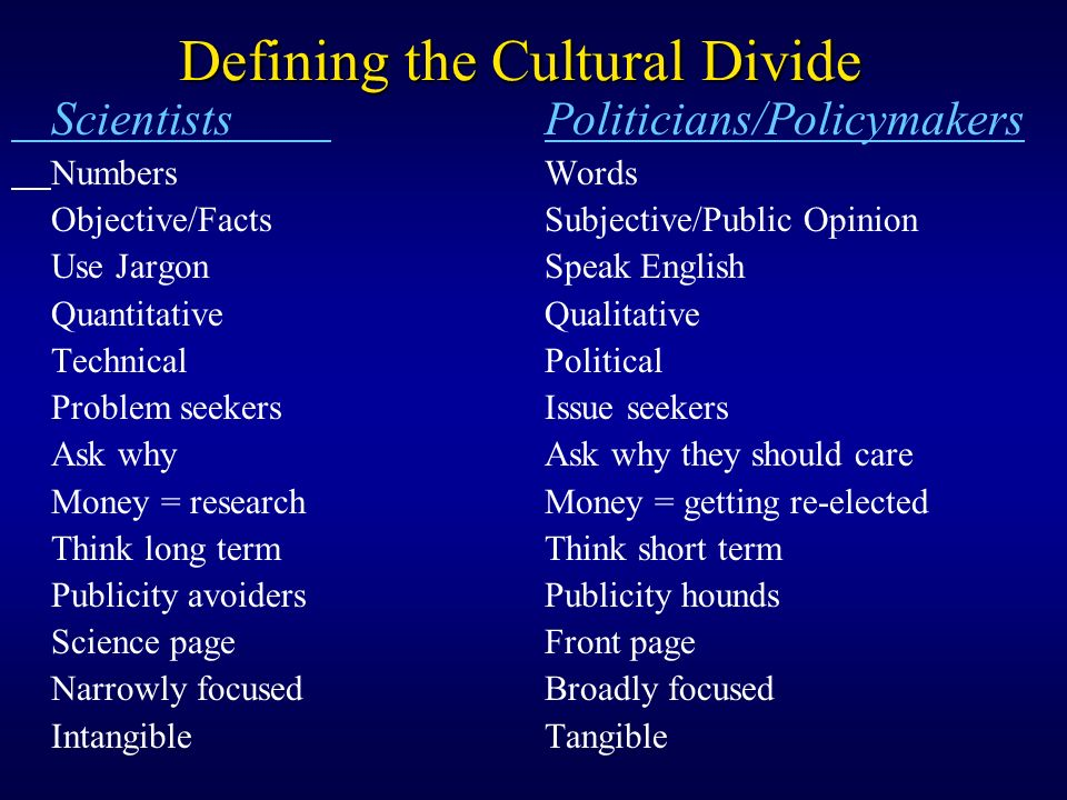 Defining the Cultural Divide ScientistsPoliticians/Policymakers NumbersWords Objective/FactsSubjective/Public Opinion Use JargonSpeak English QuantitativeQualitative TechnicalPolitical Problem seekersIssue seekers Ask whyAsk why they should care Money = researchMoney = getting re-elected Think long termThink short term Publicity avoidersPublicity hounds Science page Front page Narrowly focused Broadly focused Intangible Tangible