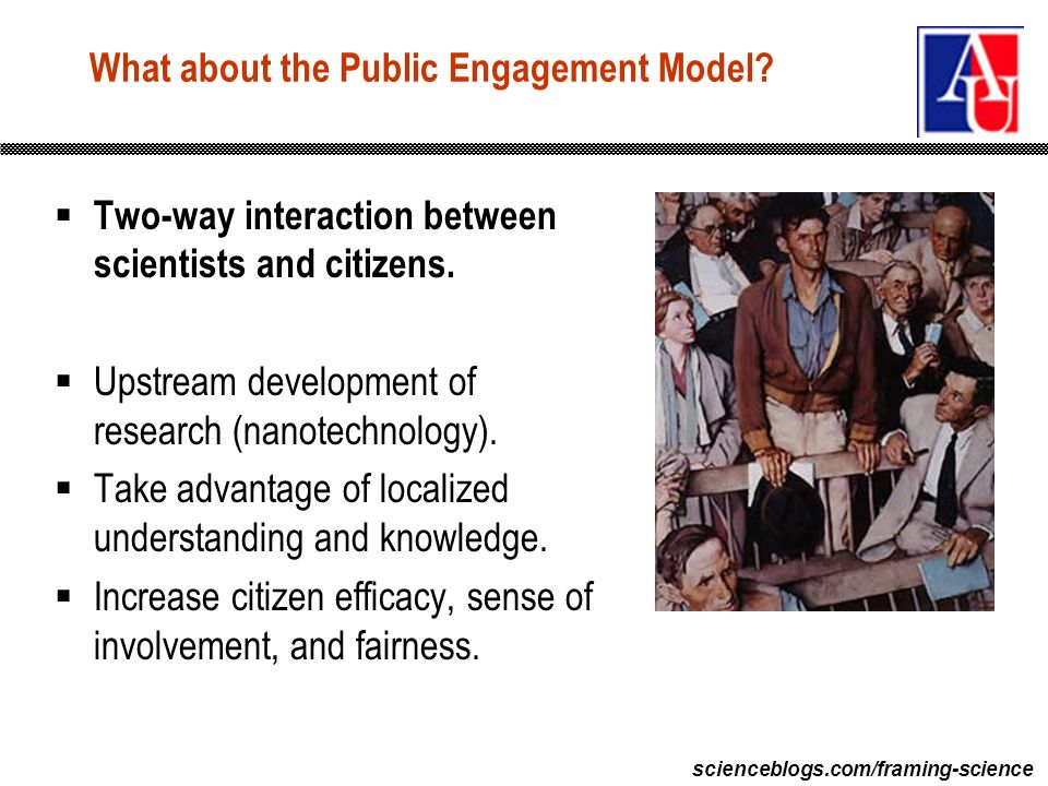 scienceblogs.com/framing-science What about the Public Engagement Model? Two-way interaction between scientists and citizens. Upstream development of