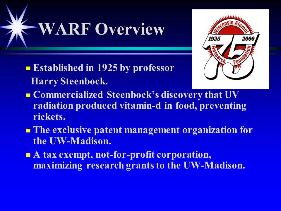 WARF Overview n n Established in 1925 by professor Harry Steenbock.