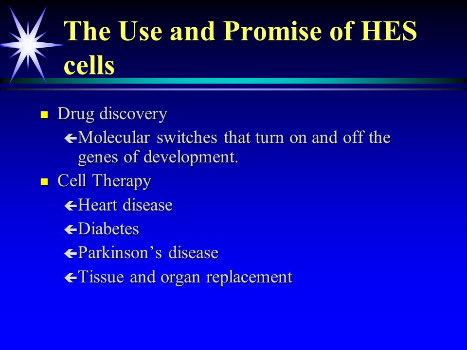 The Use and Promise of HES cells n Drug discovery ç Molecular switches that turn on and off the genes of development.