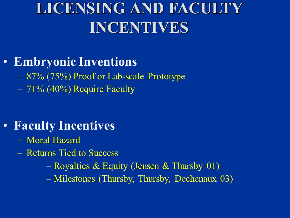 LICENSING AND FACULTY INCENTIVES Embryonic Inventions –87% (75%) Proof or Lab-scale Prototype –71% (40%) Require Faculty Faculty Incentives –Moral Hazard –Returns Tied to Success –Royalties & Equity (Jensen & Thursby 01) –Milestones (Thursby, Thursby, Dechenaux 03)