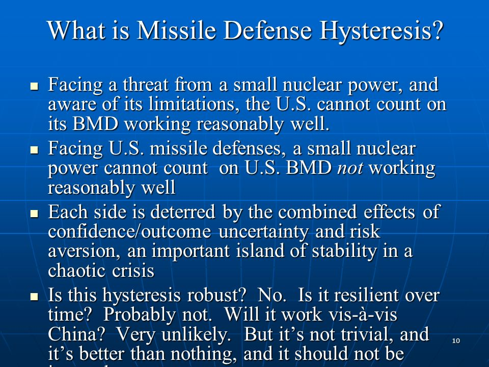 What is Missile Defense Hysteresis.