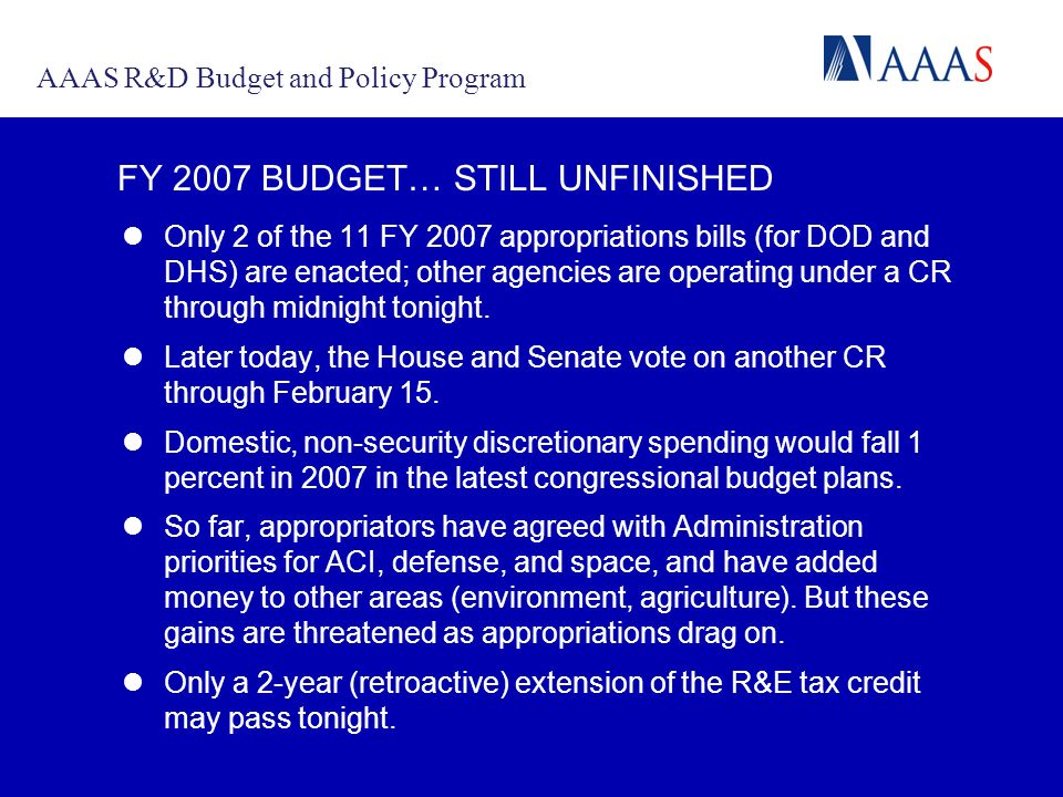 A COMMUNICATION PORTAL FOR THE MACARTHUR INITIATIVE FY 2007 BUDGET… STILL UNFINISHED Only 2 of the 11 FY 2007 appropriations bills (for DOD and DHS) are enacted; other agencies are operating under a CR through midnight tonight.