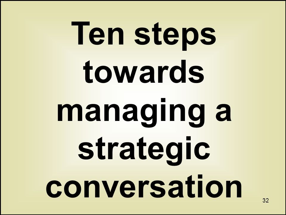 32 Ten steps towards managing a strategic conversation