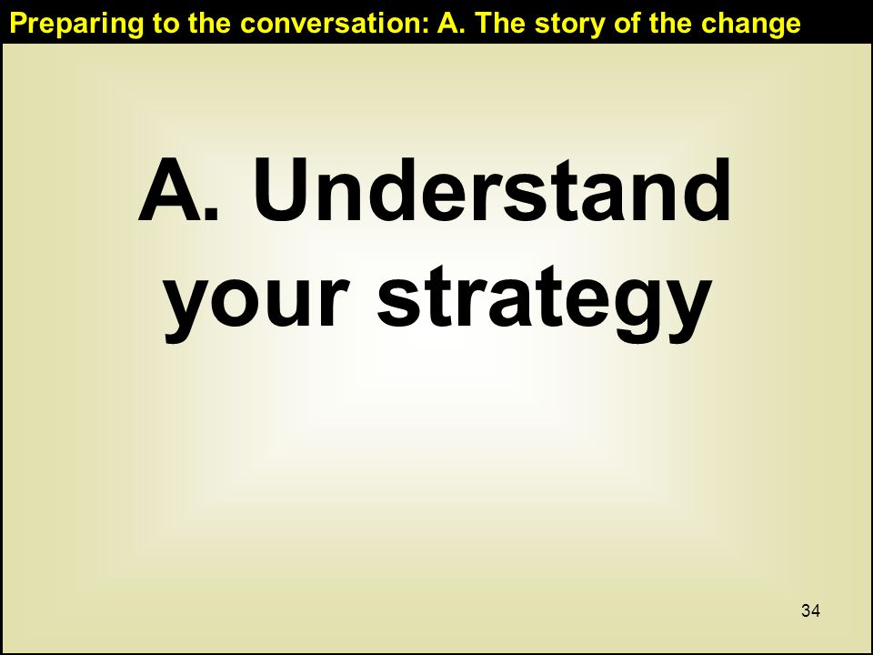 34 A. Understand your strategy Preparing to the conversation: A. The story of the change