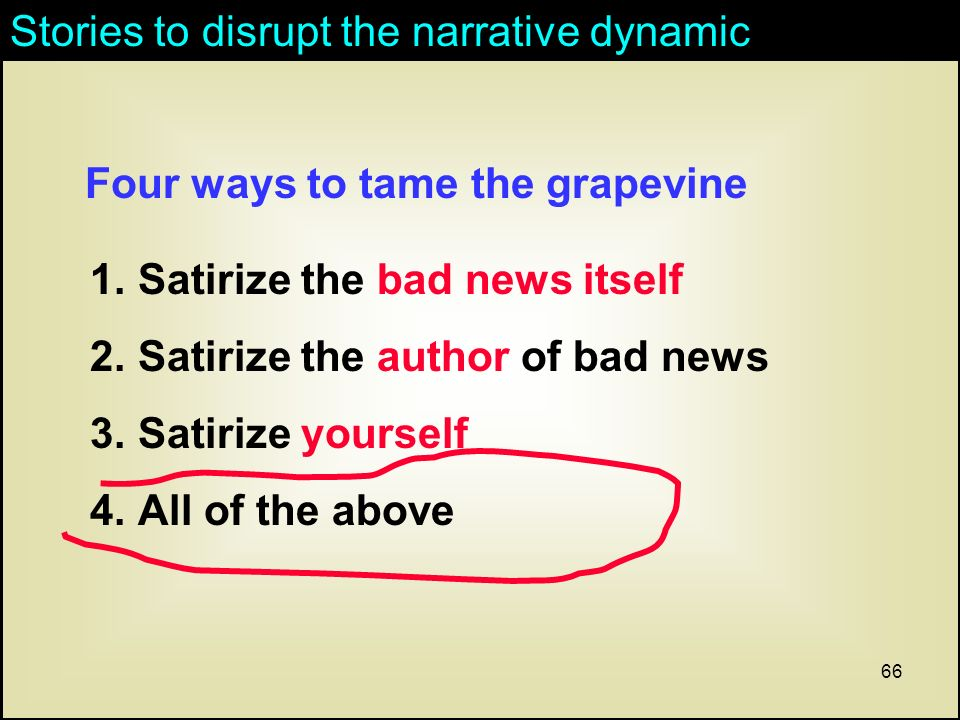 66 1.Satirize the bad news itself 2.Satirize the author of bad news 3.Satirize yourself 4.All of the above Stories to disrupt the narrative dynamic Four ways to tame the grapevine