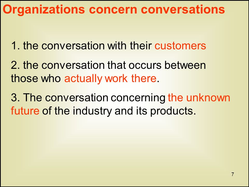 7 Organizations concern conversations 1. the conversation with their customers 2.