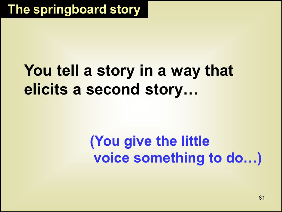 81 The springboard story You tell a story in a way that elicits a second story… (You give the little voice something to do…)