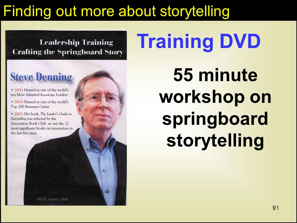 91 Training DVD 55 minute workshop on springboard storytelling Finding out more about storytelling