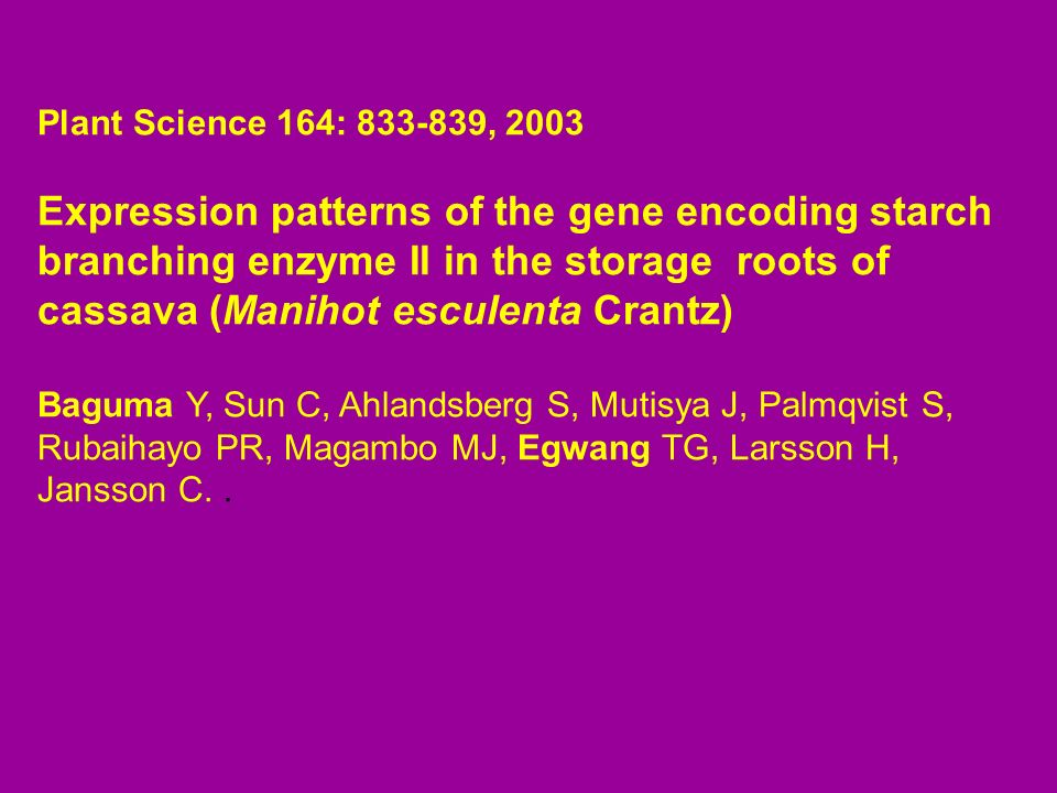 Plant Science 164: 833-839, 2003 Expression patterns of the gene encoding starch branching enzyme II in the storage roots of cassava (Manihot esculent