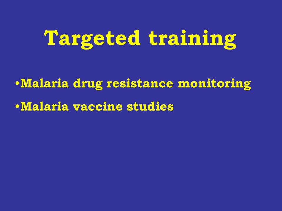 Targeted training Malaria drug resistance monitoring Malaria vaccine studies