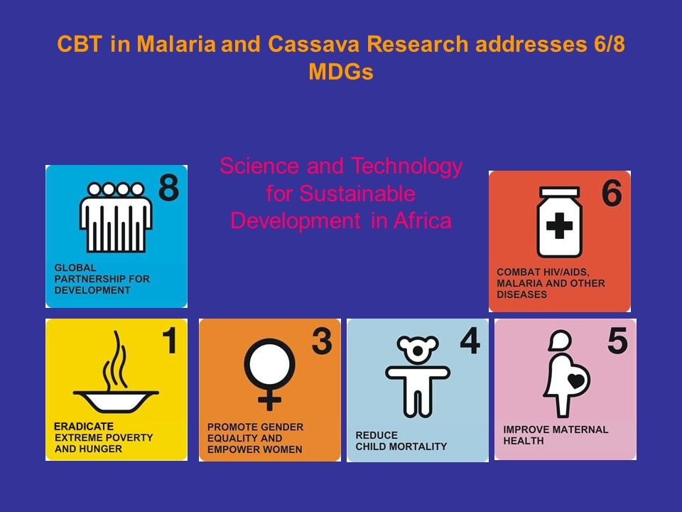 CBT in Malaria and Cassava Research addresses 6/8 MDGs Science and Technology for Sustainable Development in Africa