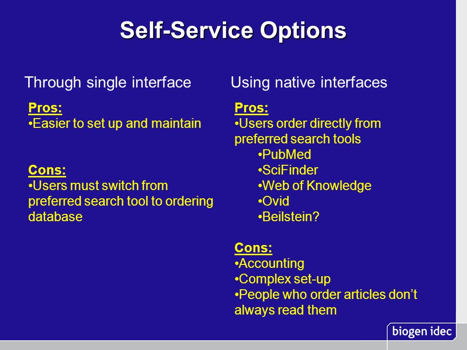 Self-Service Options Through single interfaceUsing native interfaces Pros: Easier to set up and maintain Cons: Users must switch from preferred search
