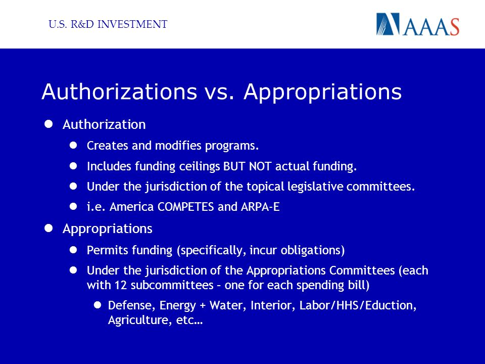 U.S. R&D INVESTMENT Authorizations vs. Appropriations Authorization Creates and modifies programs.
