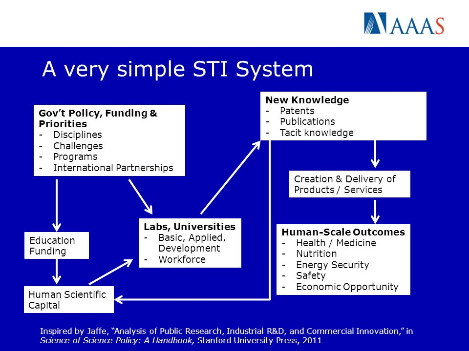 A very simple STI System Govt Policy, Funding & Priorities -Disciplines -Challenges -Programs -International Partnerships Human Scientific Capital Ins