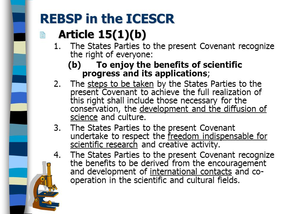 REBSP - Content Scientific freedom freedom of expression and opinion, information, association and movement Right to protection from possible harmful effects of science right to education, information Right of access to and participation in science equality International cooperation