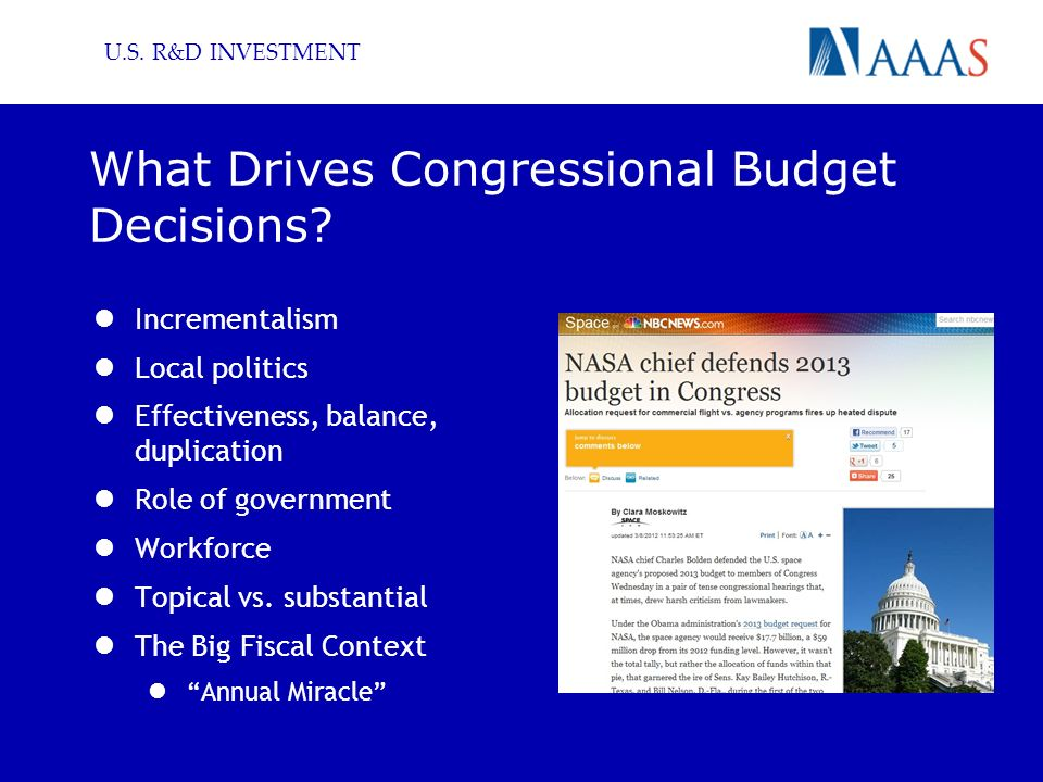 U.S. R&D INVESTMENT What Drives Congressional Budget Decisions.