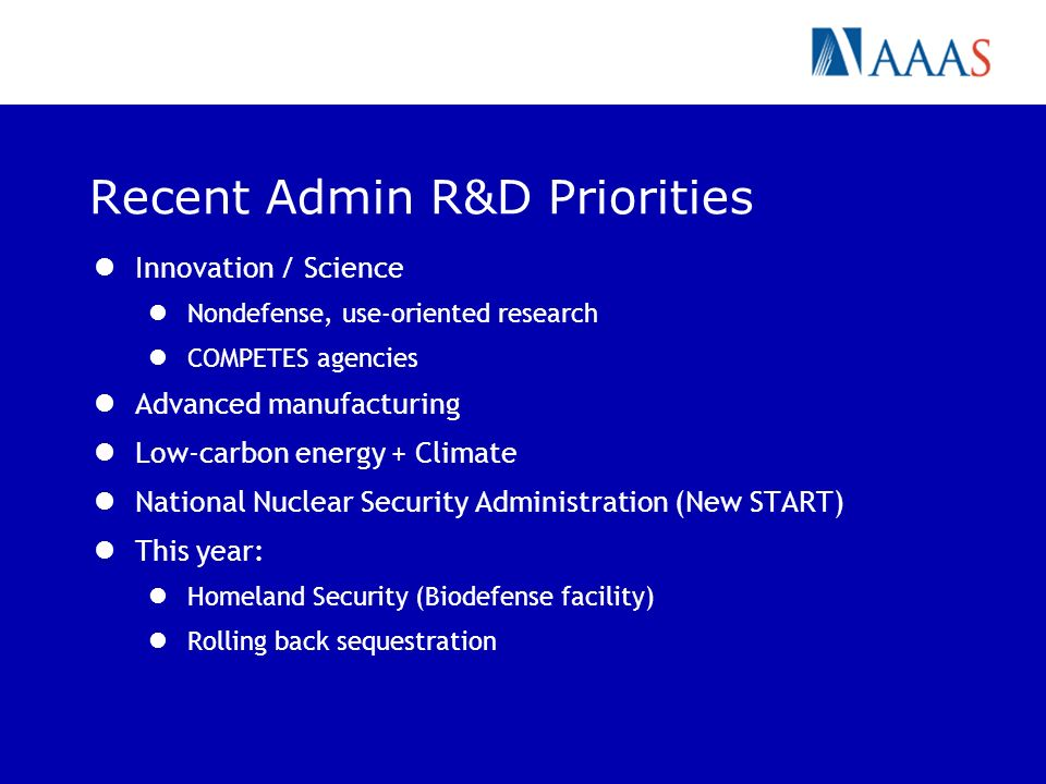 Recent Admin R&D Priorities Innovation / Science Nondefense, use-oriented research COMPETES agencies Advanced manufacturing Low-carbon energy + Climat