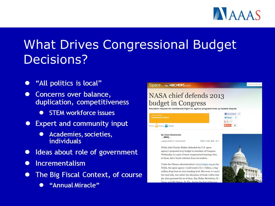 What Drives Congressional Budget Decisions? All politics is local Concerns over balance, duplication, competitiveness STEM workforce issues Expert and