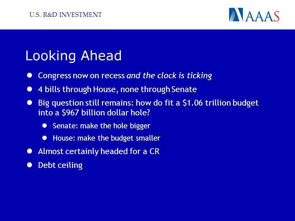 Looking Ahead Congress now on recess and the clock is ticking 4 bills through House, none through Senate Big question still remains: how do fit a $1.06 trillion budget into a $967 billion dollar hole.