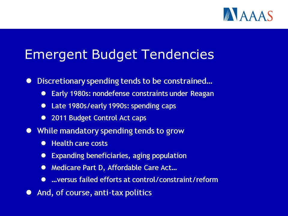 Emergent Budget Tendencies Discretionary spending tends to be constrained… Early 1980s: nondefense constraints under Reagan Late 1980s/early 1990s: spending caps 2011 Budget Control Act caps While mandatory spending tends to grow Health care costs Expanding beneficiaries, aging population Medicare Part D, Affordable Care Act… …versus failed efforts at control/constraint/reform And, of course, anti-tax politics