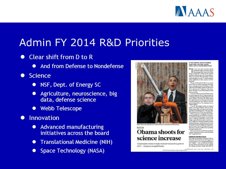 Admin FY 2014 R&D Priorities Clear shift from D to R And from Defense to Nondefense Science NSF, Dept.