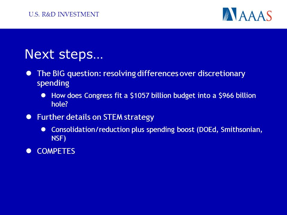 U.S. R&D INVESTMENT Next steps… The BIG question: resolving differences over discretionary spending How does Congress fit a $1057 billion budget into