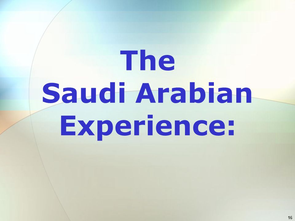 16 The Saudi Arabian Experience: