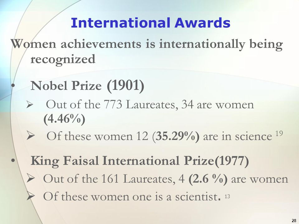 28 International Awards Women achievements is internationally being recognized Nobel Prize (1901) Out of the 773 Laureates, 34 are women (4.46%) Of th