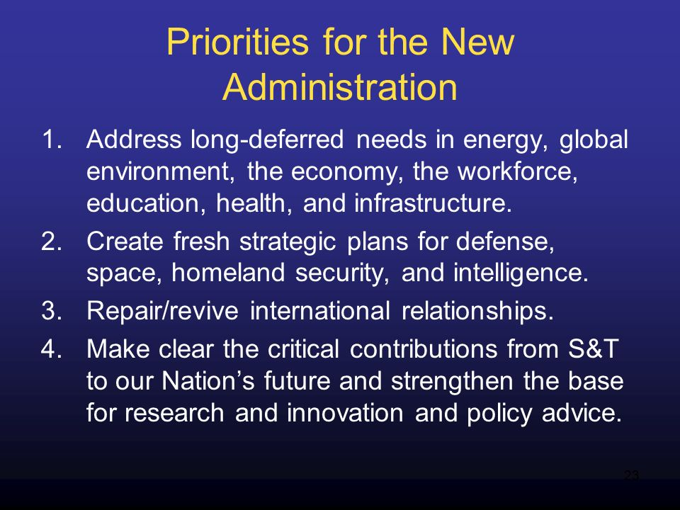 23 Priorities for the New Administration 1.Address long-deferred needs in energy, global environment, the economy, the workforce, education, health, a