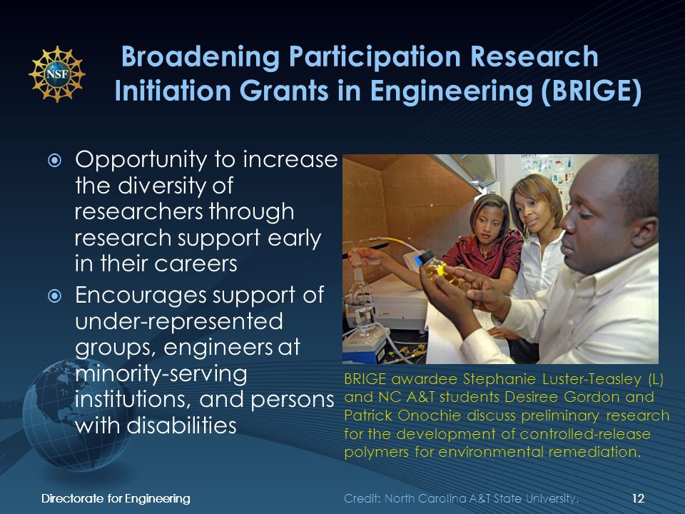 Directorate for Engineering12Directorate for Engineering12Directorate for Engineering12 Broadening Participation Research Initiation Grants in Engineering (BRIGE) Opportunity to increase the diversity of researchers through research support early in their careers Encourages support of under-represented groups, engineers at minority-serving institutions, and persons with disabilities BRIGE awardee Stephanie Luster-Teasley (L) and NC A&T students Desiree Gordon and Patrick Onochie discuss preliminary research for the development of controlled-release polymers for environmental remediation.