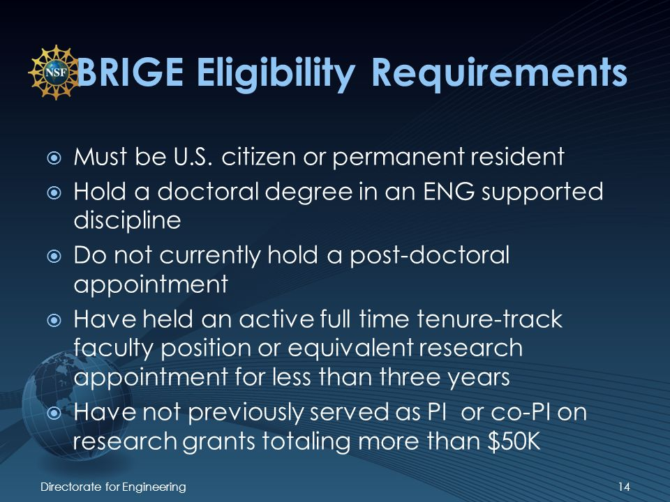 Directorate for Engineering14 BRIGE Eligibility Requirements Must be U.S.