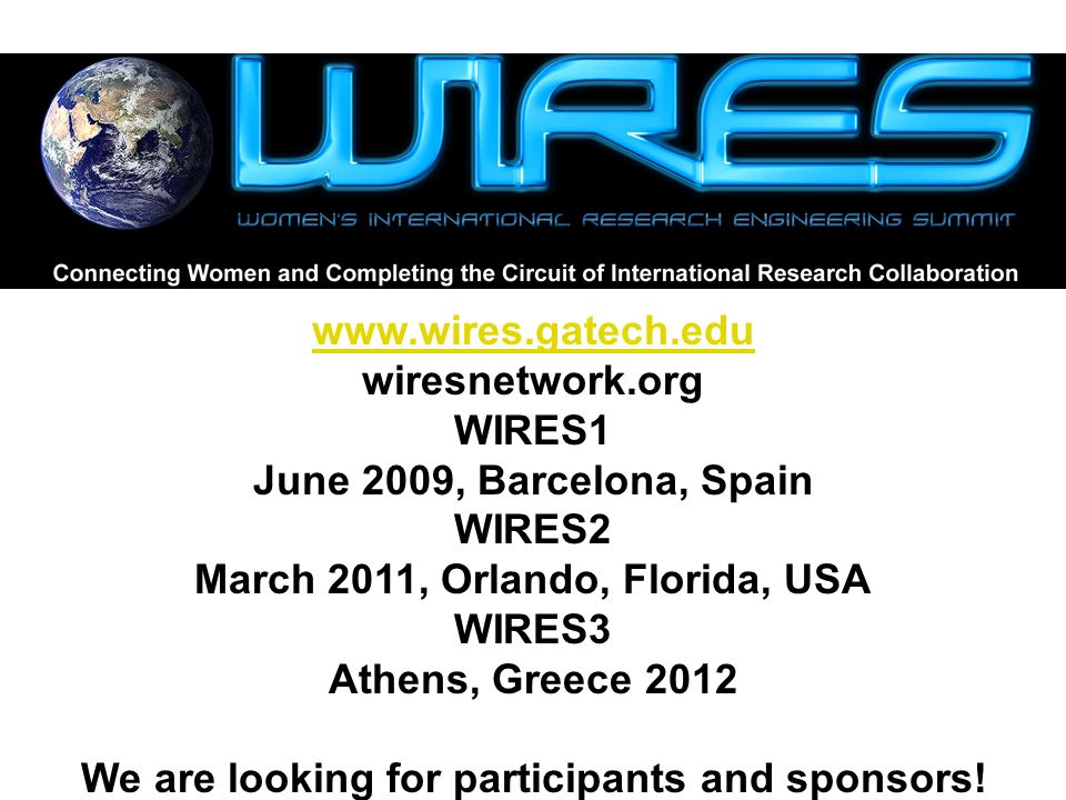 www.wires.gatech.edu wiresnetwork.org WIRES1 June 2009, Barcelona, Spain WIRES2 March 2011, Orlando, Florida, USA WIRES3 Athens, Greece 2012 We are looking for participants and sponsors!