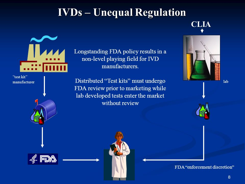 8 IVDs – Unequal Regulation Longstanding FDA policy results in a non-level playing field for IVD manufacturers.