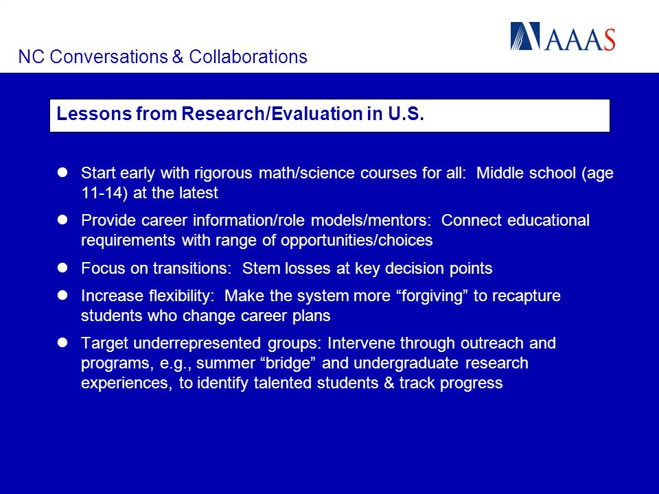 NC Conversations & Collaborations Lessons from Research/Evaluation in U.S. Start early with rigorous math/science courses for all: Middle school (age