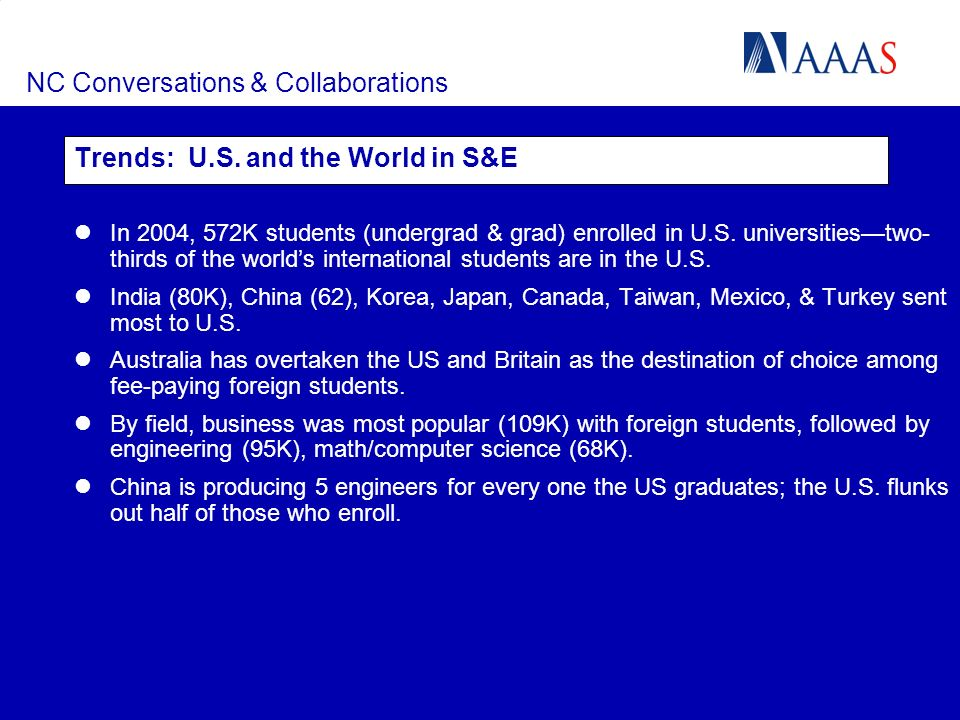 NC Conversations & Collaborations Trends: U.S. and the World in S&E In 2004, 572K students (undergrad & grad) enrolled in U.S. universitiestwo- thirds