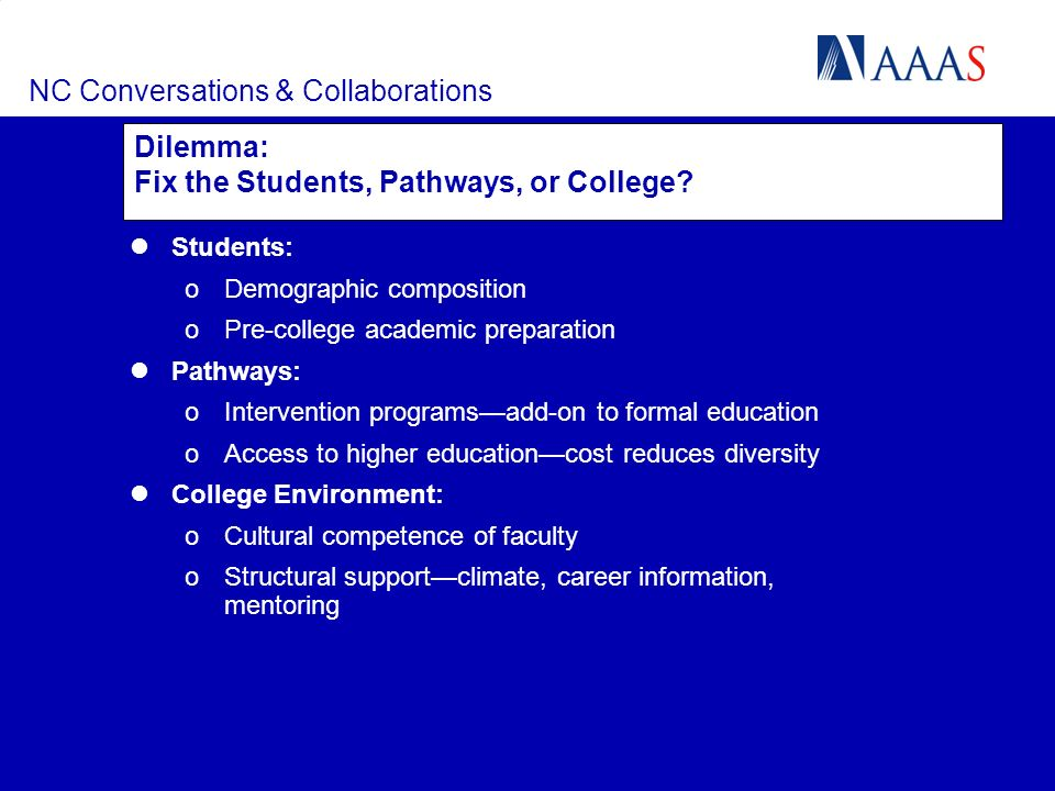 NC Conversations & Collaborations Dilemma: Fix the Students, Pathways, or College? Students: oDemographic composition oPre-college academic preparatio