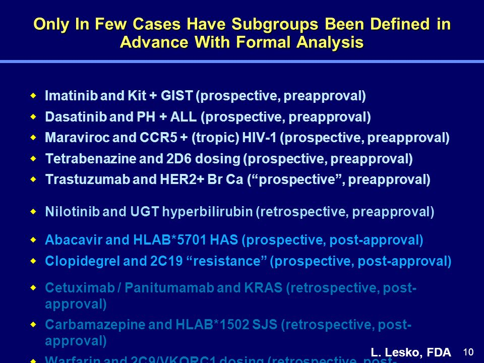 10 Only In Few Cases Have Subgroups Been Defined in Advance With Formal Analysis Imatinib and Kit + GIST (prospective, preapproval) Dasatinib and PH +