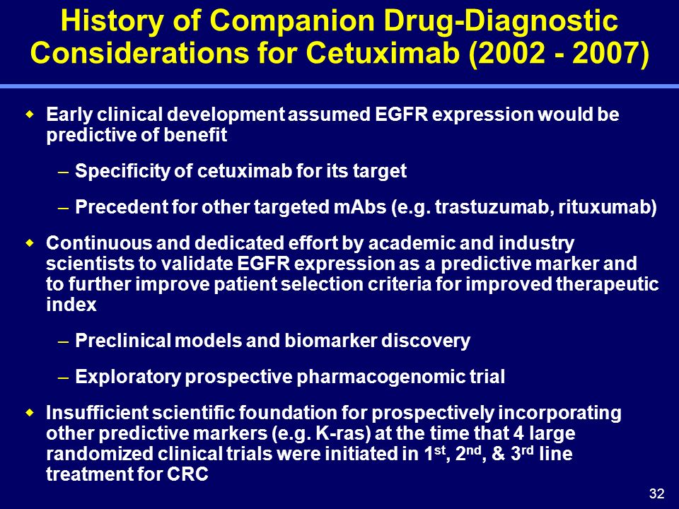 32 History of Companion Drug-Diagnostic Considerations for Cetuximab (2002 - 2007) Early clinical development assumed EGFR expression would be predictive of benefit –Specificity of cetuximab for its target –Precedent for other targeted mAbs (e.g.