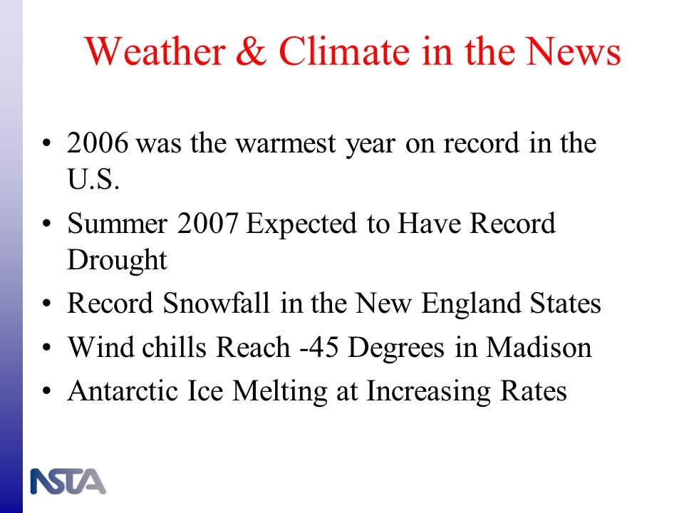 Weather & Climate in the News 2006 was the warmest year on record in the U.S. Summer 2007 Expected to Have Record Drought Record Snowfall in the New E
