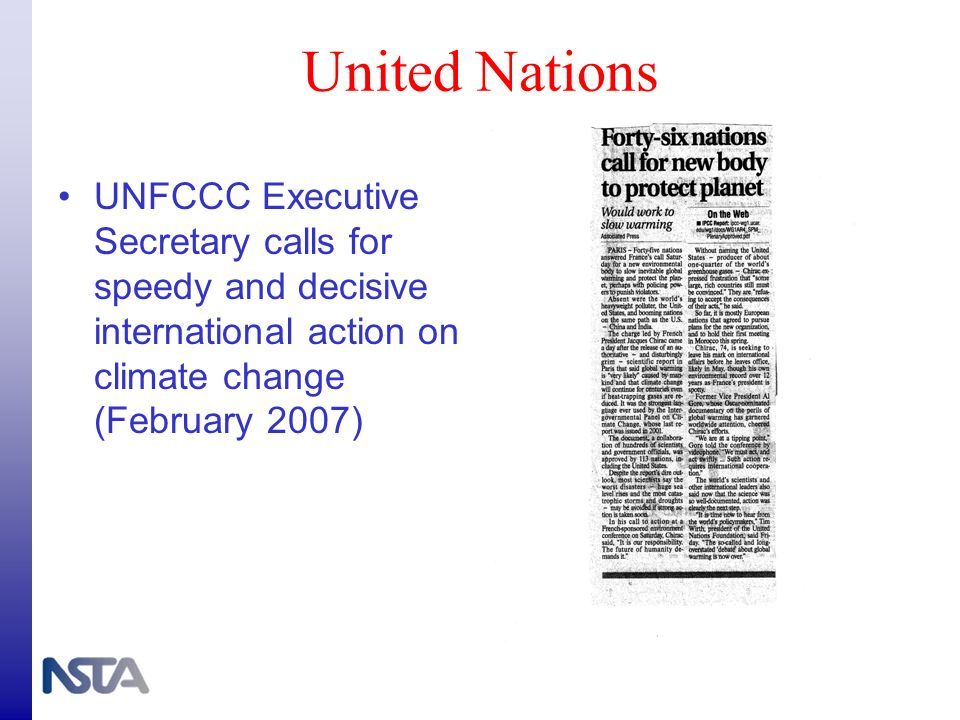United Nations UNFCCC Executive Secretary calls for speedy and decisive international action on climate change (February 2007)